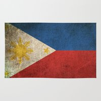 philippines Area & Throw Rugs featuring Old and Worn Distressed Vintage Flag of Philippines by Jeff Bartels
