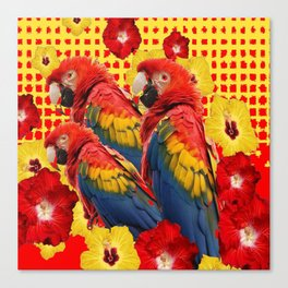 DECORATIVE TROPICAL RED MACAWS & HIBISCUS  FLOWERS Canvas Print