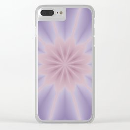 Pink and Lilac 3D Flower Three Clear iPhone Case