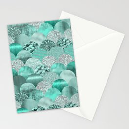 Green Turquoise Glamour Mermaid Scale Pattern Stationery Cards