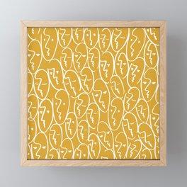 faces / mustard Framed Mini Art Print