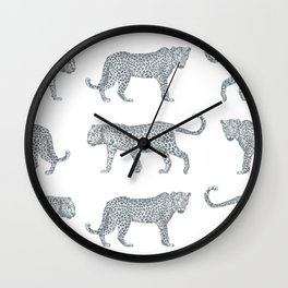 Leopards on the Prowl Pattern in Pencil Wall Clock