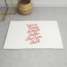 You're Doing So Much Better Than You Think inspirational typography poster bedroom wall home decor Rug