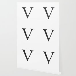 Letter V Initial Monogram Black and White Wallpaper