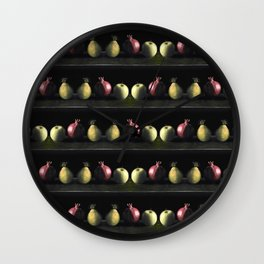 Holiday Fruit Stripes Photographic Pattern #1 Wall Clock