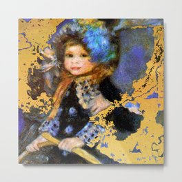 manet gold and blue little girl Metal Print