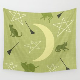 Mid Century Modern Halloween Witch Theme Green Wall Tapestry