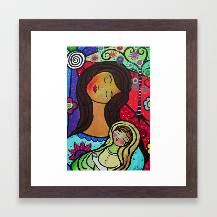 Abstract Mother and Child Painting by Prisarts Framed Art Print by ...
