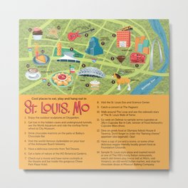 Square Map of St. Louis Metal Print