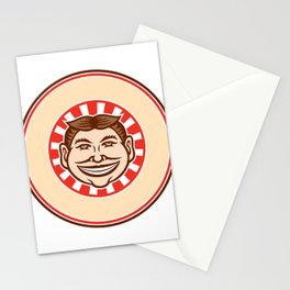 Grinning Funny Face Mascot Circle Retro Stationery Cards