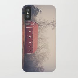 Little Red Barn in the Fog iPhone Case