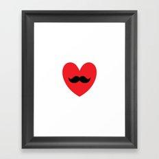 Mustache heart Framed Art Print