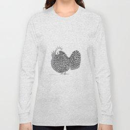 Zentangle  Funky Chicken Illustration Long Sleeve T-shirt