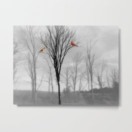 Red birds Cardinals Tree Fog A112 Metal Print