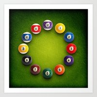 novelty Art Prints featuring Billiards Snooker Novelty Clock by KittyBitty