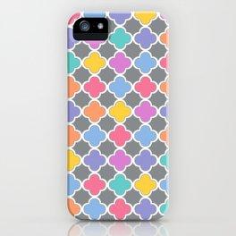 Rainbow & Gray Quatrefoil iPhone Case