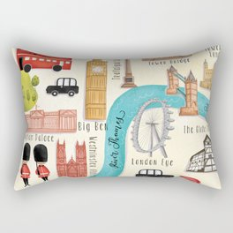 London Calling- Illustrated Map Rectangular Pillow