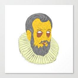 Nobleman Wearing Ruff Collar Grime Art Canvas Print