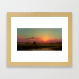 Pink Sunset over Scituate, Rhode Island Marches Landscape by Martin Johnson Heade Framed Art Print