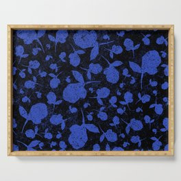 Dark Blue Floral Blooms on Black Serving Tray