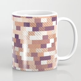 Solid brick wall with diagonal crossed lines, redwod and eggplant colored print Coffee Mug