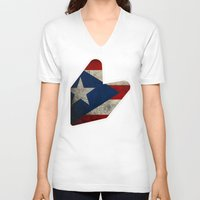 puerto rico V-neck T-shirts featuring JDM puerto rico FLAG by designbook