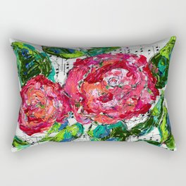 Melody - Floral - Piano notes Rectangular Pillow