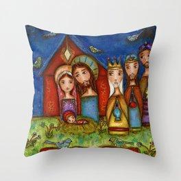 Nativity with Birds Throw Pillow