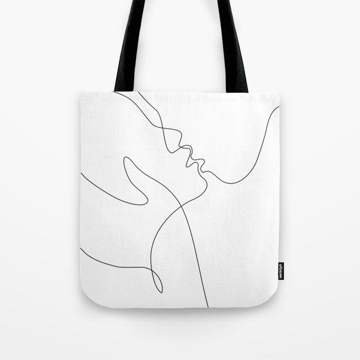 Line Art Drawing Minimalist Kiss Tote Bag By Siretmr