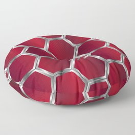 Metallic red and silver geometric pattern Floor Pillow