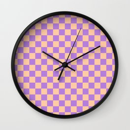 Deep Peach Orange and Lavender Violet Checkerboard Wall Clock