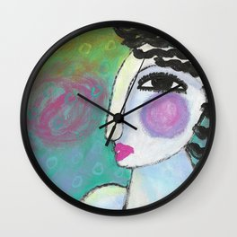 Funky Abstract Portrait of a Woman Wall Clock
