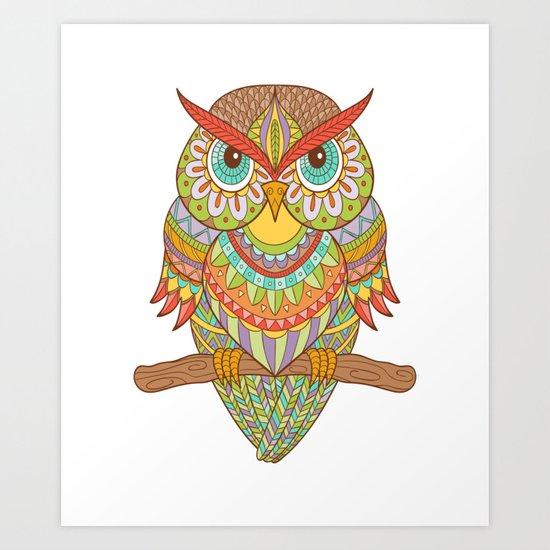 Hand drawn owl Art Print