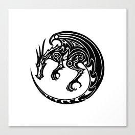 Tribal dragon - button design Canvas Print