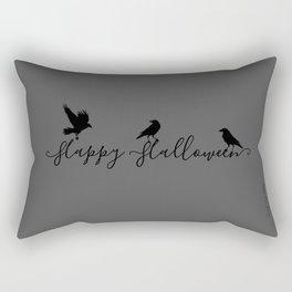 Happy Halloween Ravens - grey/black Rectangular Pillow