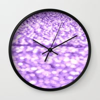 glitter Wall Clocks featuring Purple Glitter Sparkles by WhimsyRomance&Fun