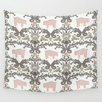 damask Wall Tapestries featuring pig damask by Sharon Turner