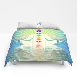 In Meditation With Chakras - Blue Ocean Comforters