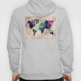 World map watercolor 1 Hoody