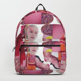 pinky was ready - a pink and red modern collage Backpack