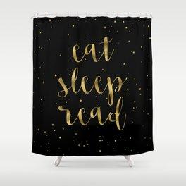 Eat, Sleep, Read (Stars) - Gold Shower Curtain