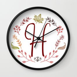 Floral H letter Wall Clock