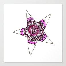 Pink Superstar Mandala Star Canvas Print
