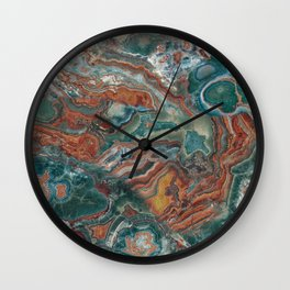 Rich Green and Rust Marble Wall Clock