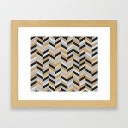 Herringbone - Gold + Silver + Black Framed Art Print