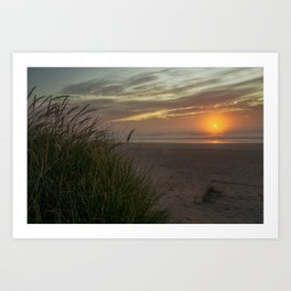 Sunset Over The Pacific Ocean at Cannon Beach, Oregon Art Print