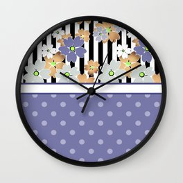 Floral pattern With textured polka dots. Wall Clock