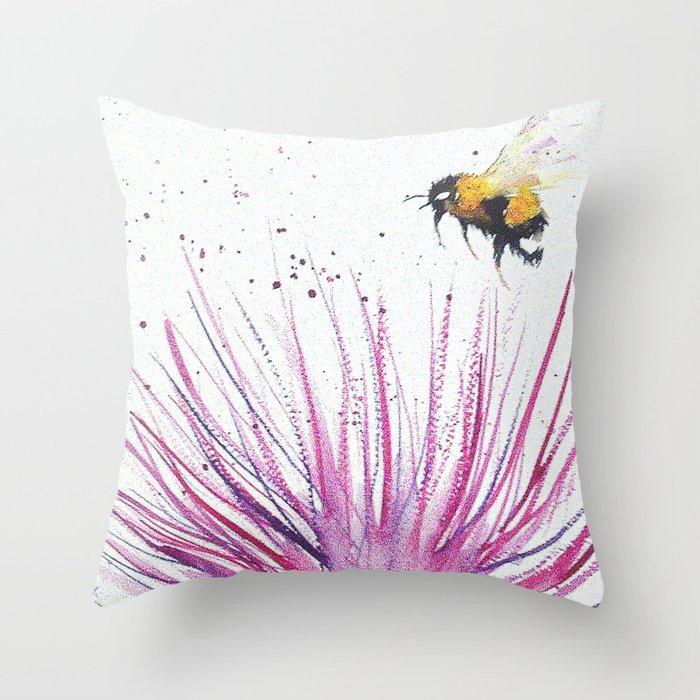 Bumble bee and Pink Flower Deko-Kissen