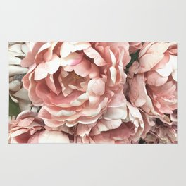 Autumn Fall Coral Peach Floral Peonies Roses Shabby Chic Flowers Rug