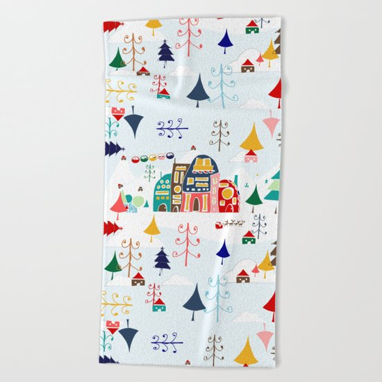 Alpine Chalet Beach Towel